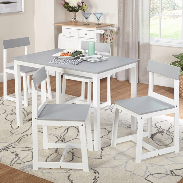 Aria 5 Piece Dining Sets With Regard To Favorite Shop Simple Living Aria 5 Piece Light Grey And White Dining Set (View 4 of 20)