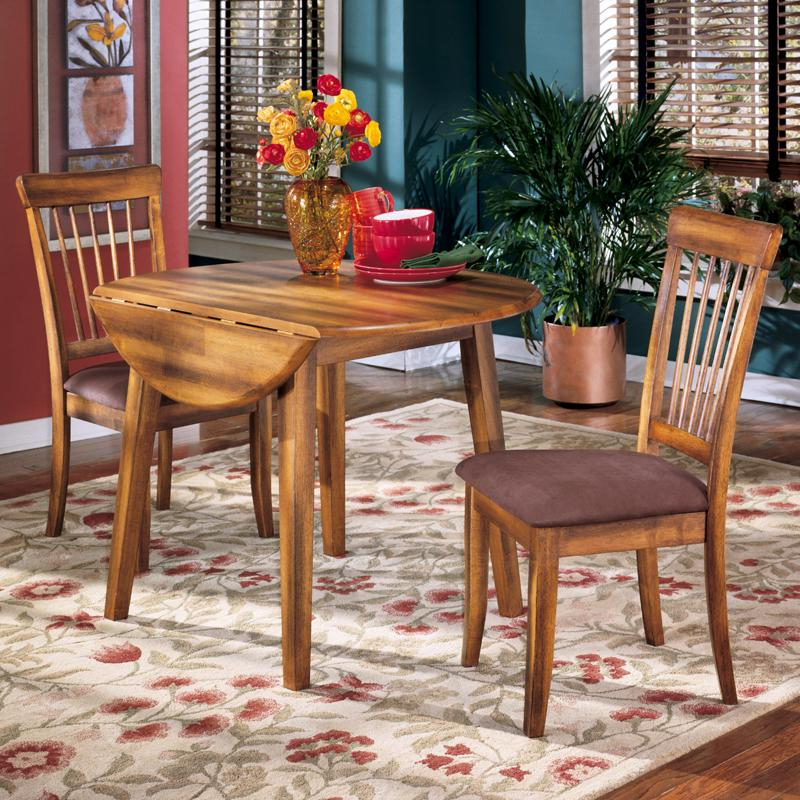 Ashley Furniture Berringer 3 Piece Drop Leaf Table & 2 Upholstered With Well Known Northwoods 3 Piece Dining Sets (Gallery 6 of 20)
