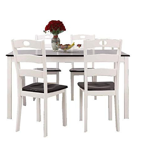 Ats 5 Pc Dining Table Set Modern White Wood Dinner Chair Indoor With Regard To Best And Newest Sundberg 5 Piece Solid Wood Dining Sets (Gallery 15 of 20)