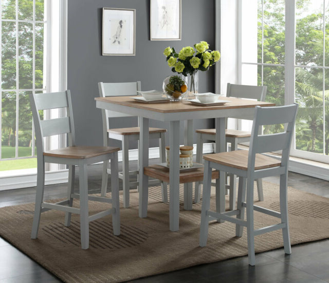 August Grove Liesel Counter 5 Piece Breakfast Nook Solid Wood Dining Within Most Popular 5 Piece Breakfast Nook Dining Sets (View 13 of 20)