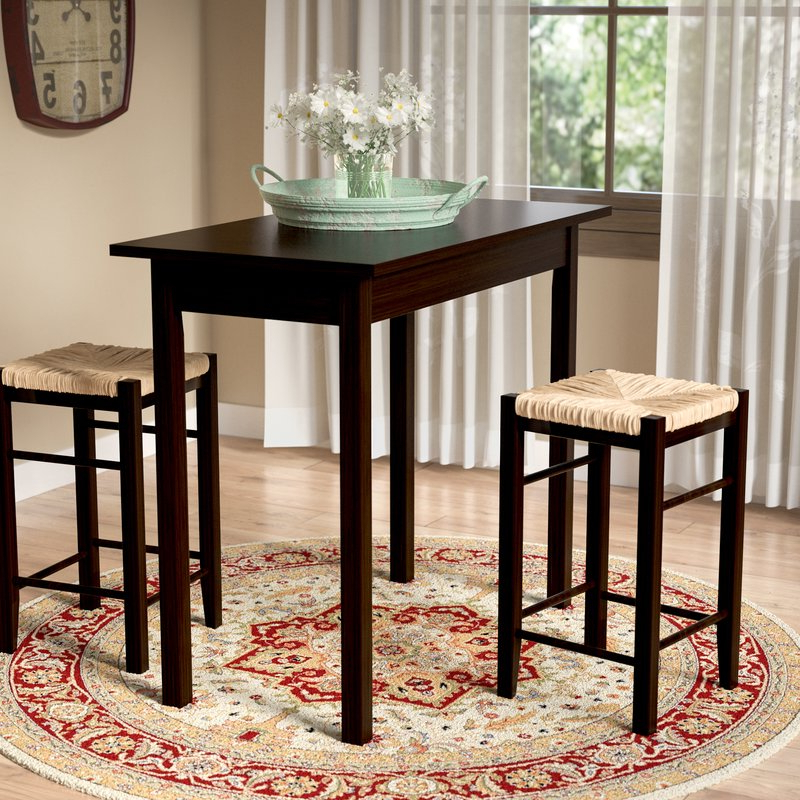 August Grove Tenney 3 Piece Counter Height Dining Set & Reviews Within Famous Poynter 3 Piece Drop Leaf Dining Sets (Gallery 6 of 20)