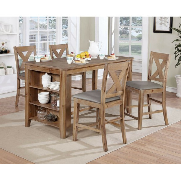 Bargain Carmel 5 Piece Dining Setaugust Grove Today Only Sale On Inside Most Up To Date Hanska Wooden 5 Piece Counter Height Dining Table Sets (set Of 5) (View 16 of 20)