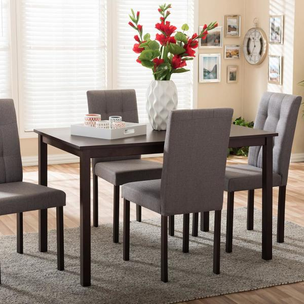 Baxton Studio Andrew 9 Grids 5 Piece Gray Fabric Upholstered Dining For Well Known 5 Piece Dining Sets (View 8 of 20)