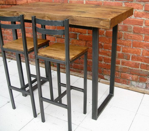 Beautiful Handmade Breakfast Bar Table / Kitchen Island Dining Set In Current Northwoods 3 Piece Dining Sets (View 16 of 20)