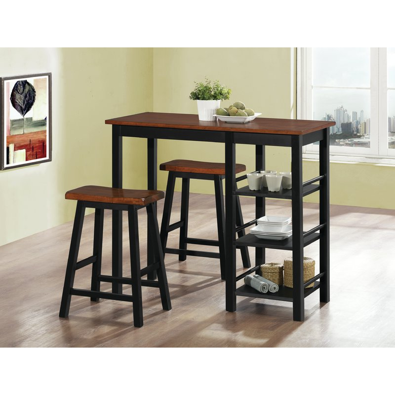 Berrios 3 Piece Counter Height Dining Set & Reviews (View 4 of 20)