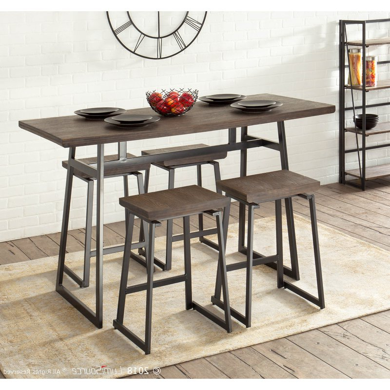 Berrios 3 Piece Counter Height Dining Sets Inside Favorite Cassiopeia Industrial 5 Piece Counter Height Dining Set & Reviews (View 5 of 20)