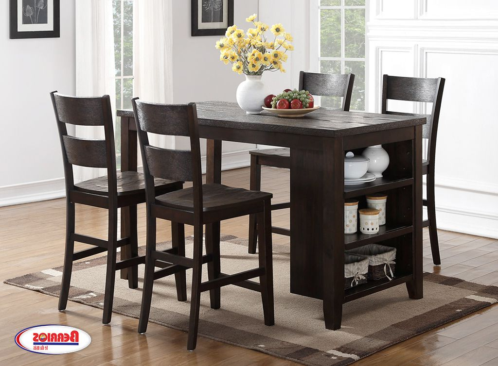 Berrios 3 Piece Counter Height Dining Sets Intended For Popular 8204 Pub Table Dark Chocolate Dining Room In (View 7 of 20)