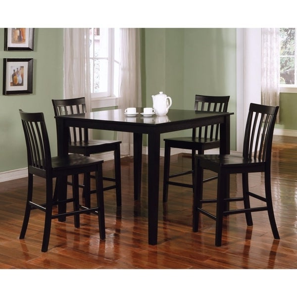 Best And Newest Goodman 5 Piece Solid Wood Dining Sets (Set Of 5) Pertaining To Shop Classy 5 Piece Wooden Counter Height Dining Set, Black – Free (Gallery 8 of 20)