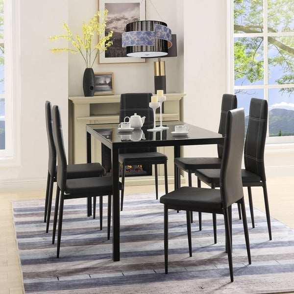 Best And Newest Shop Merax 7 Piece Dining Set Glass Top Metal Table 6 Person Table With Regard To Maynard 5 Piece Dining Sets (Gallery 13 of 20)
