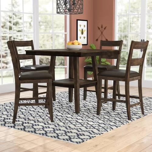 Bettencourt 3 Piece Counter Height Solid Wood Dining Sets For 2020 Handys Rutkowski 5 Piece Counter Height Solid Wood Pub Table Set (View 9 of 20)