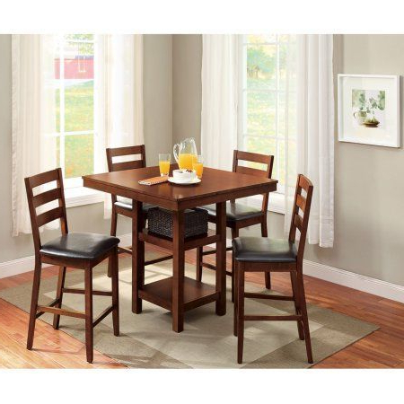 Biggs 5 Piece Counter Height Solid Wood Dining Sets (Set Of 5) Pertaining To Most Popular Better Homes & Gardens Dalton Park 5 Piece Counter Height Dining Set (Gallery 15 of 20)