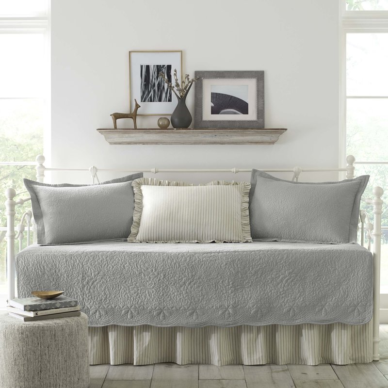 Birch Lane™ Heritage Annamae Gray 5 Piece Quilt Set & Reviews Regarding Trendy Queener 5 Piece Dining Sets (View 2 of 20)