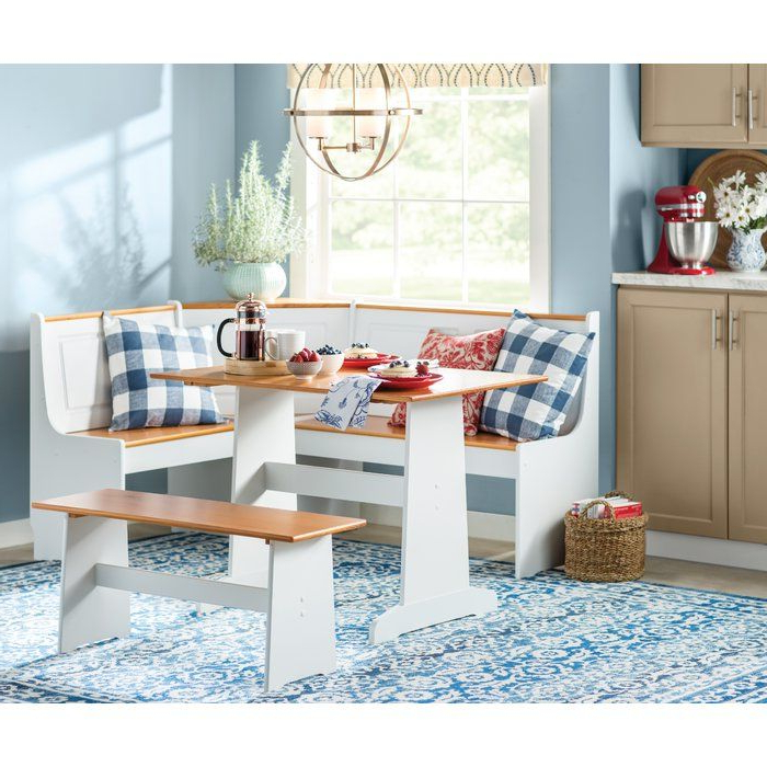 Birtie 3 Piece Solid Wood Breakfast Nook Dining Set In 2019 Inside Newest 3 Piece Breakfast Nook Dinning Set (View 8 of 20)