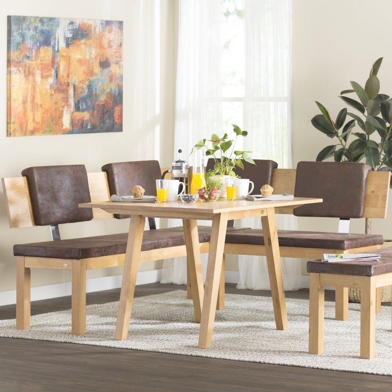 Brayden Studio Desouza 3 Piece Breakfast Nook Dining Set & Reviews Regarding Most Recent 3 Piece Breakfast Dining Sets (View 8 of 20)