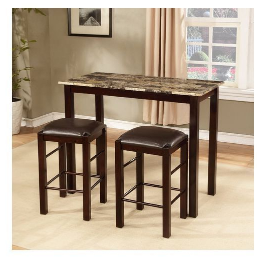 Breakfast Bar Set Kitchen 3 Piece Table Counter Stools Dining Island Regarding Well Liked Tenney 3 Piece Counter Height Dining Sets (View 6 of 20)