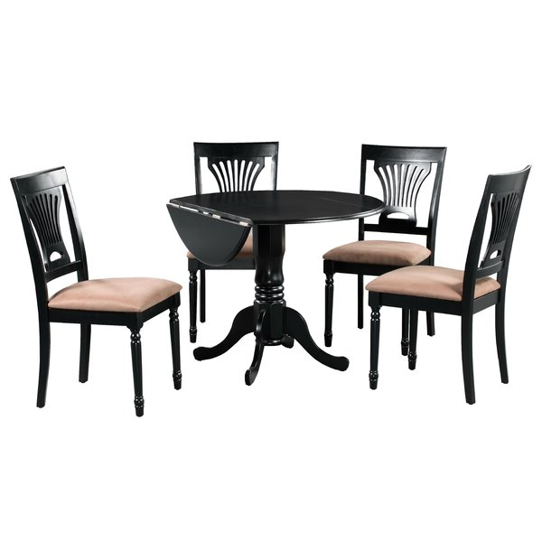 Brompton 5 Piece Drop Leaf Solid Wood Dining Setalcott Hill Inside Favorite Tavarez 5 Piece Dining Sets (View 12 of 20)