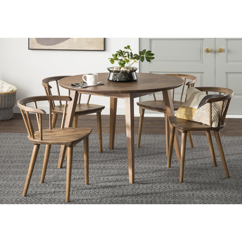 Burgan 5 Piece Solid Wood Breakfast Nook Dining Set & Reviews Regarding 2020 5 Piece Breakfast Nook Dining Sets (View 10 of 20)