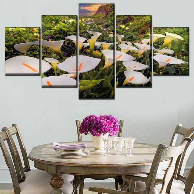 Calla 5 Piece Dining Sets Within 2019 Canvas Hd Prints Paintings Wall Art 5 Pieces Calla Lily Flower (View 4 of 20)