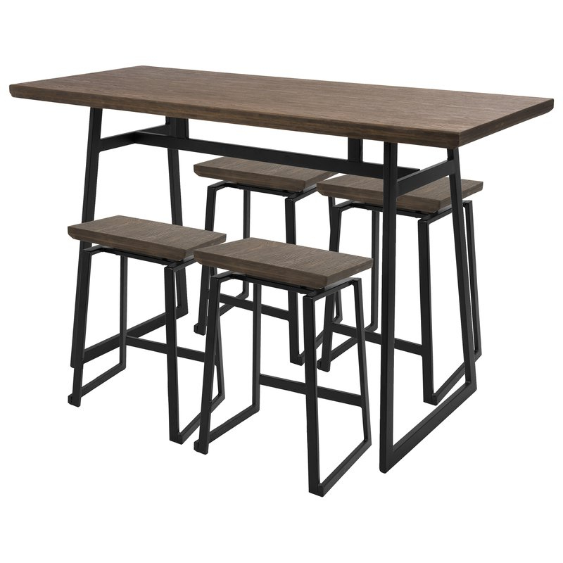 Cassiopeia Industrial 5 Piece Counter Height Dining Set & Reviews Pertaining To Most Current Berrios 3 Piece Counter Height Dining Sets (View 13 of 20)