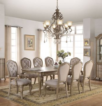 Chelmsford 3 Piece Dining Sets Intended For Fashionable Acme Chelmsford 9Pc Dining Set In Antique Taupedining Rooms Outlet (View 5 of 20)