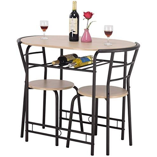 Contemporary 3 Piece Dining Set  1 Table With Wine Rack, 2 Ergonomic In Preferred Miskell 3 Piece Dining Sets (View 2 of 20)