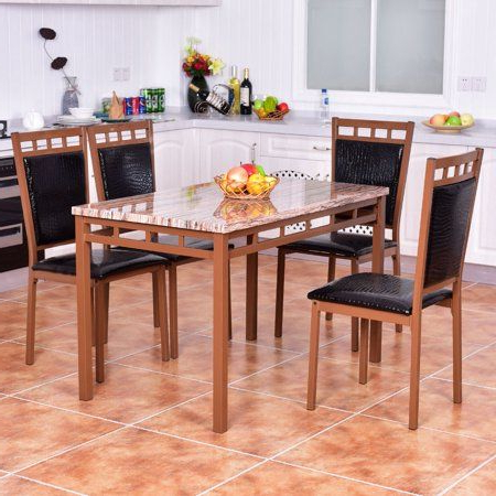 Costway 5 Pc Dining Set Faux Marble Table And Pu Chairs Home Kitchen Intended For Widely Used Tarleton 5 Piece Dining Sets (View 7 of 20)