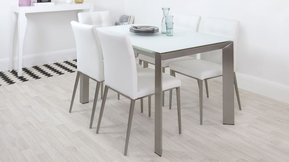 Current Eve White Frosted Glass With Brushed Stainless Steel And Moda With Regard To Osterman 6 Piece Extendable Dining Sets (set Of 6) (View 14 of 20)