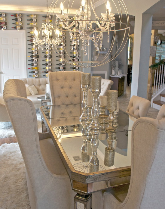Current Glam Dining Room! I Am Obsessed With The Table, Chairs Centerpieces With Kaelin 5 Piece Dining Sets (View 6 of 20)
