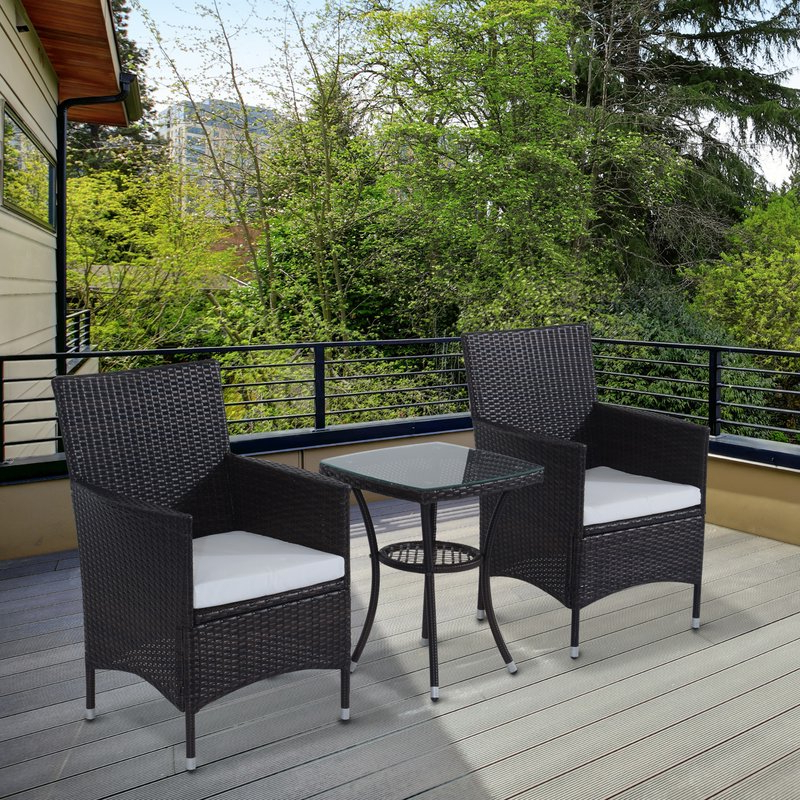 Current Kinsler 3 Piece Bistro Sets Within Sol 72 Outdoor Kinsler 2 Seater Bistro Set With Cushions & Reviews (View 8 of 20)
