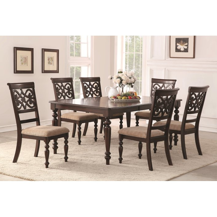 Featured Photo of Laconia 7 Pieces Solid Wood Dining Sets (Set Of 7)