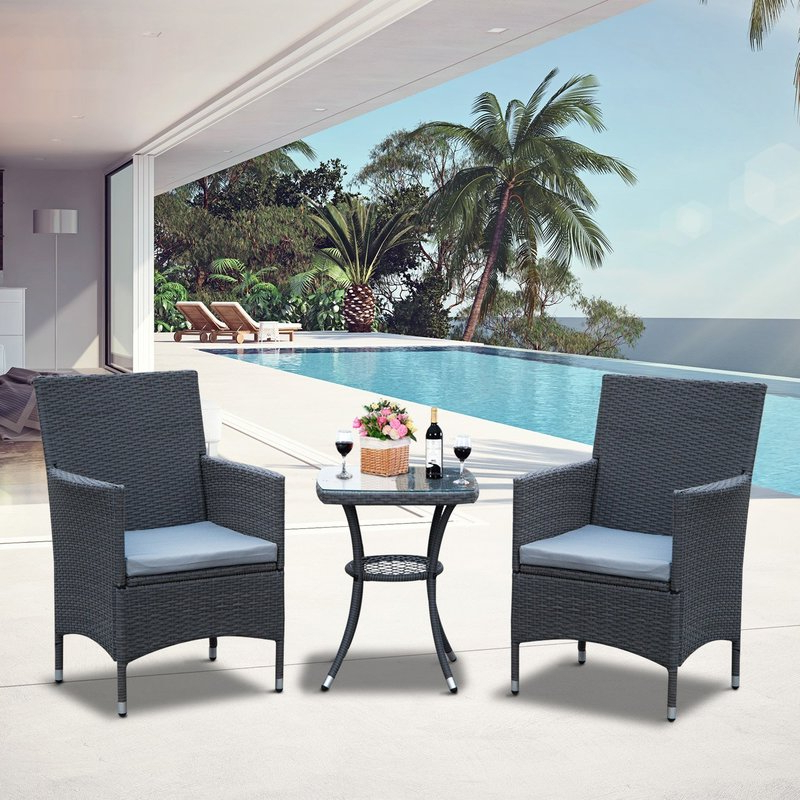 Current Rattan Garden Furniture Set Outdoor 2 Chairs Table Grey Bistro Set Pertaining To Kinsler 3 Piece Bistro Sets (View 10 of 20)