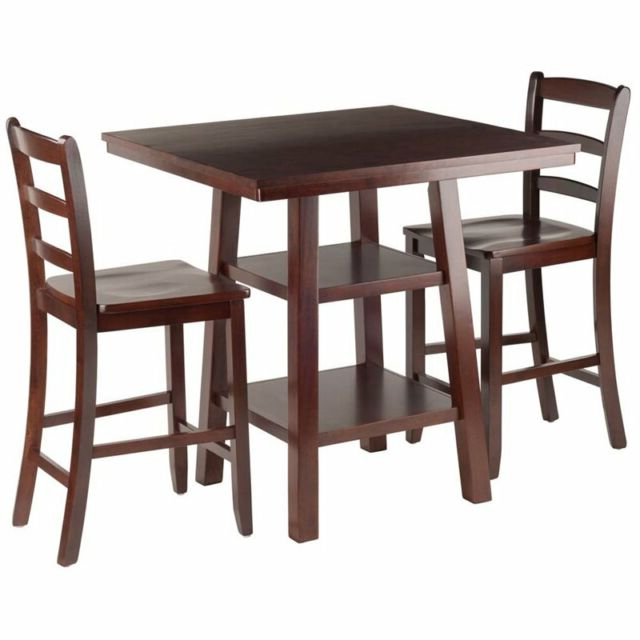 Current Winsome Wood Orlando 3 Piece Set High Table 2 Shelves With 2 Ladder Throughout Winsome 3 Piece Counter Height Dining Sets (View 3 of 20)