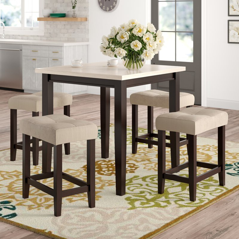 Current Winsted 4 Piece Counter Height Dining Sets In Red Barrel Studio Skeens 5 Piece Counter Height Dining Set & Reviews (View 12 of 20)