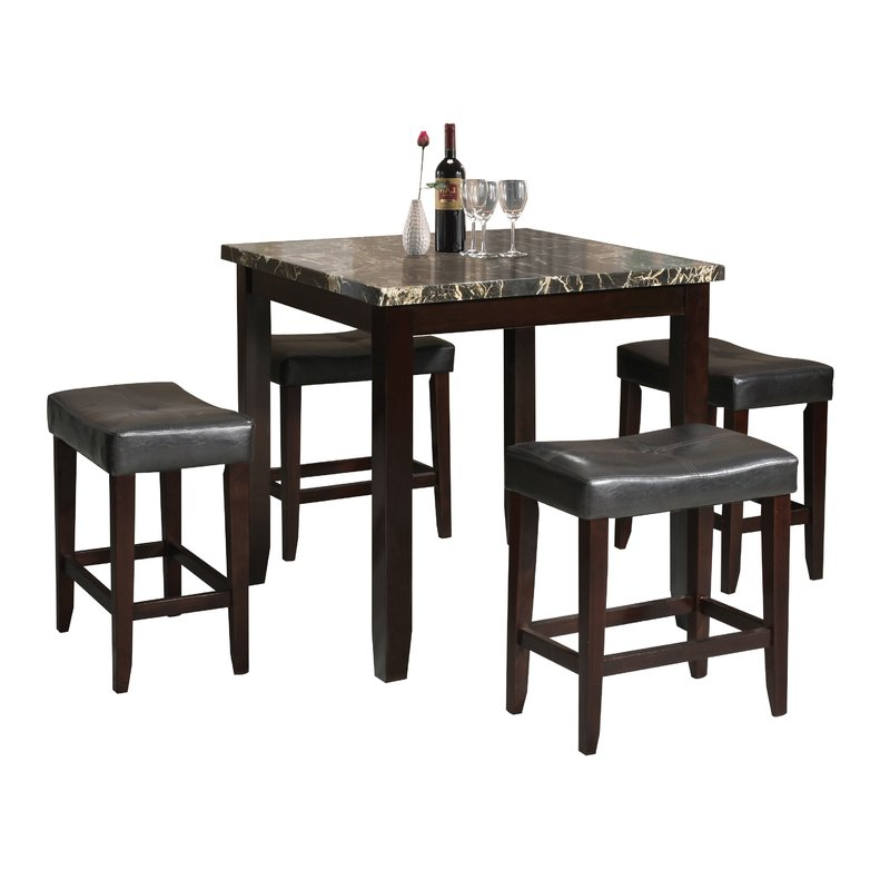 Dehaven 5 Piece Counter Height Dining Set & Reviews (View 2 of 20)