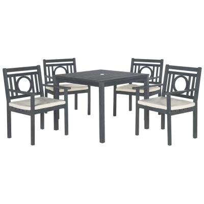 Delmar 5 Piece Dining Sets Regarding Most Recent Rustic – Ash Gray With Beige Cushions – Patio Dining Sets – Patio (View 6 of 20)