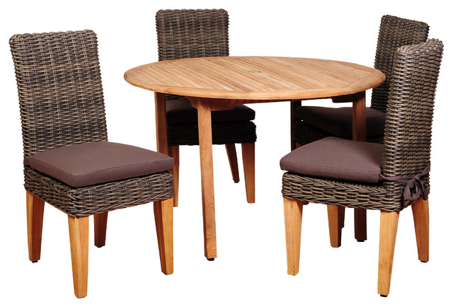 Delmar 5 Piece Dining Sets With Well Liked Amazonia Del Mar 5 Piece Teak And Wicker Round Dining Set – Tropical (View 12 of 20)