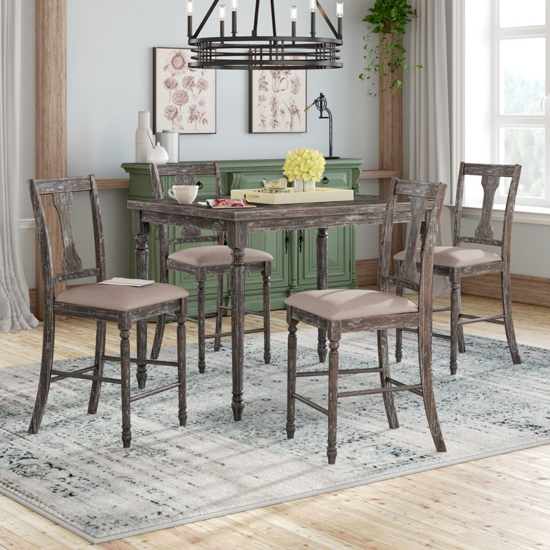 Dunwoody 5 Piece Counter Height Pub Table Set & Reviews (Gallery 14 of 20)