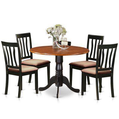 East West Furniture 5 Piece Splat Back Drop Leaf Dinette Dining Within 2020 Sundberg 5 Piece Solid Wood Dining Sets (View 9 of 20)