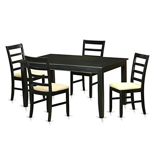 East West Furniture Dupf5 Blk C 5 Piece Dining Room Table And 4 For 2019 Yedinak 5 Piece Solid Wood Dining Sets (View 4 of 20)