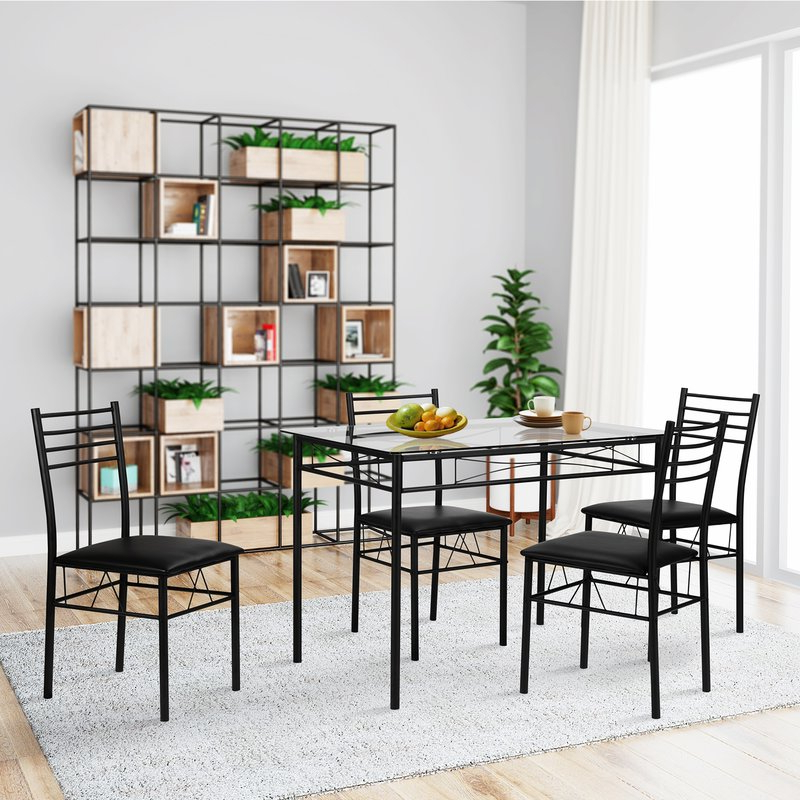 Ebern Designs Lightle 5 Piece Breakfast Nook Dining Set & Reviews Pertaining To Fashionable Liles 5 Piece Breakfast Nook Dining Sets (Gallery 12 of 20)