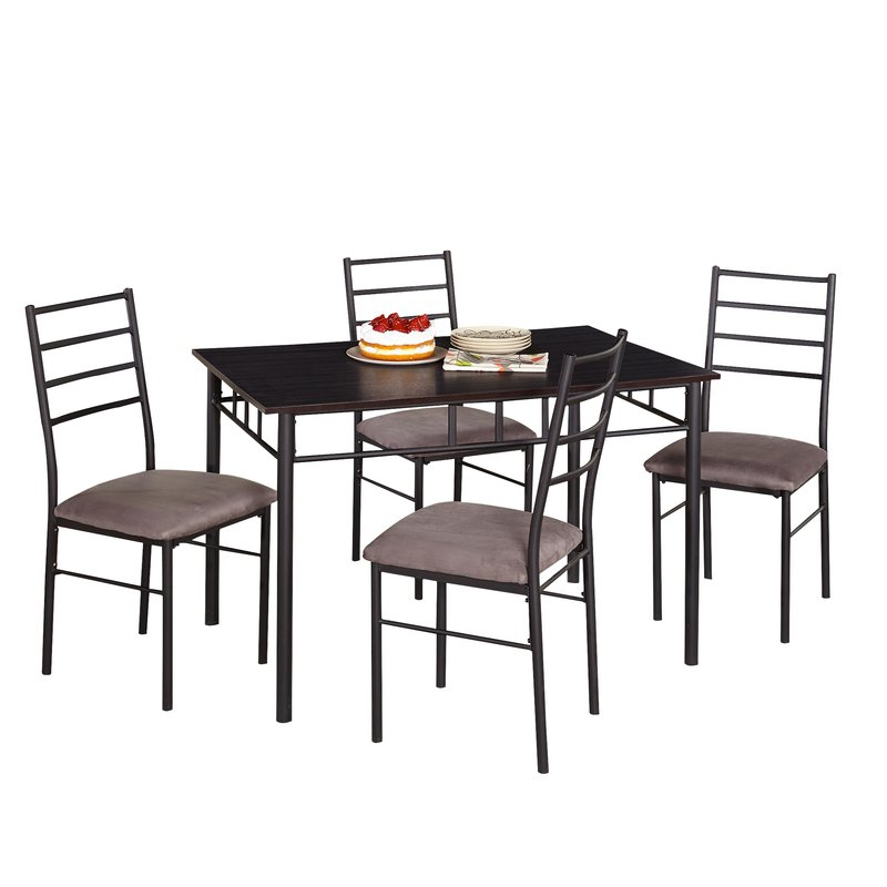 Evellen 5 Piece Solid Wood Dining Sets (Set Of 5) Pertaining To Trendy Zipcode Design Jarrod 5 Piece Dining Set & Reviews (View 6 of 20)