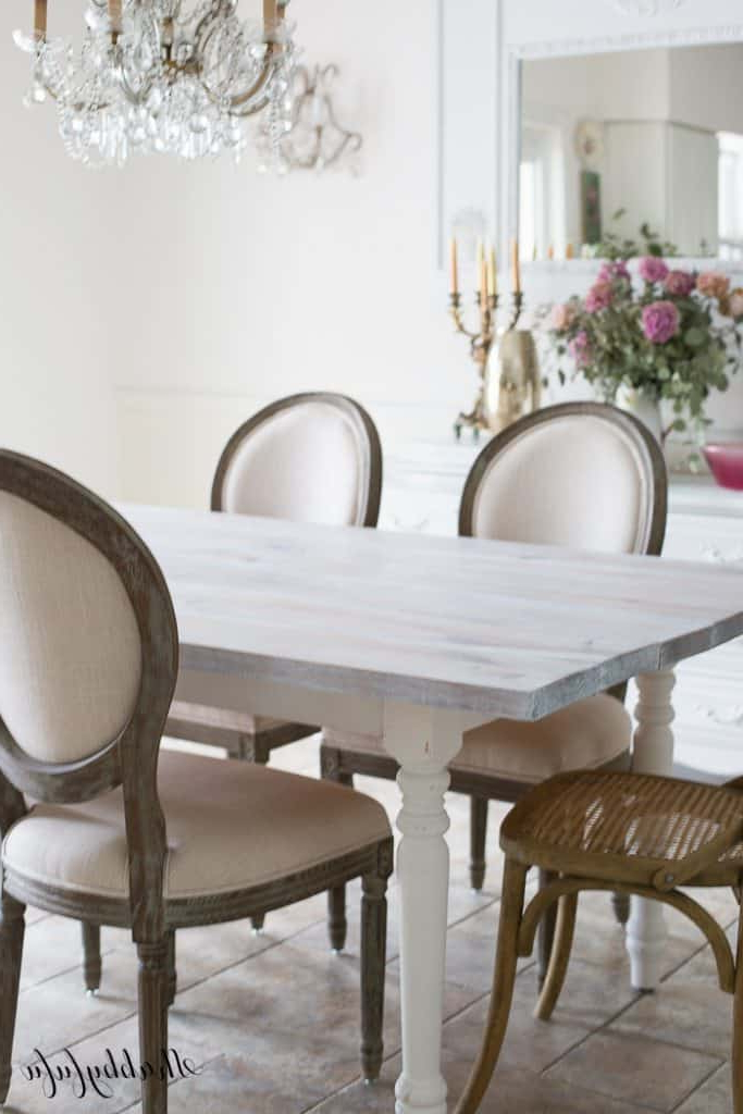 Falmer 3 Piece Solid Wood Dining Sets Within Well Known Whitewashing A Farmhouse Table In 30 Minutes – Shabbyfufu (View 3 of 20)