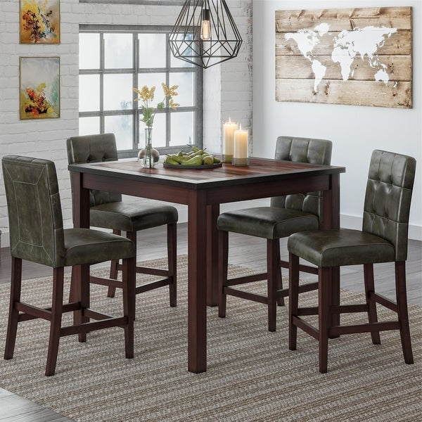 Famous Bettencourt 3 Piece Counter Height Solid Wood Dining Sets Throughout Shop Gracewood Hollow Betancourt Espresso 5 Piece Counter Height (View 5 of 20)