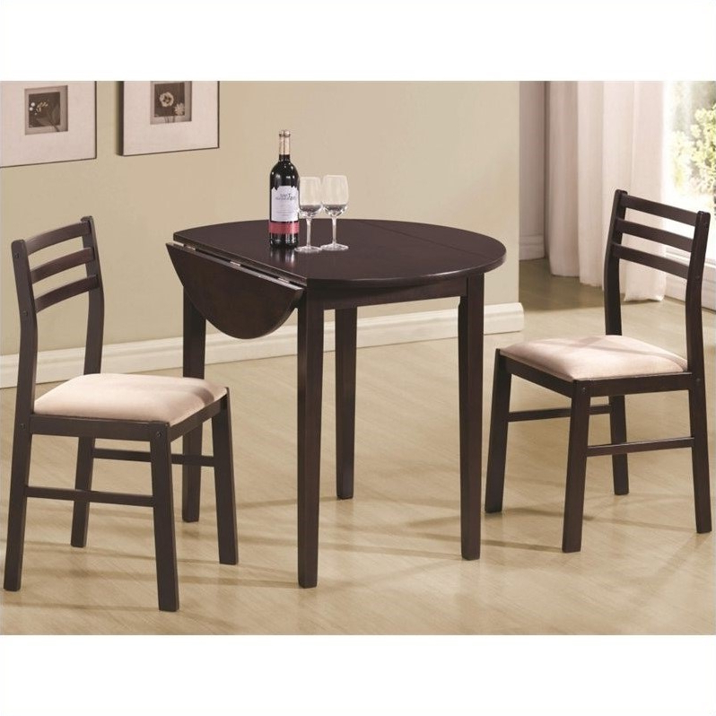 Famous Coaster Dinettes Casual 3 Piece Table And Chair Set In Rich Throughout 3 Piece Breakfast Dining Sets (View 18 of 20)