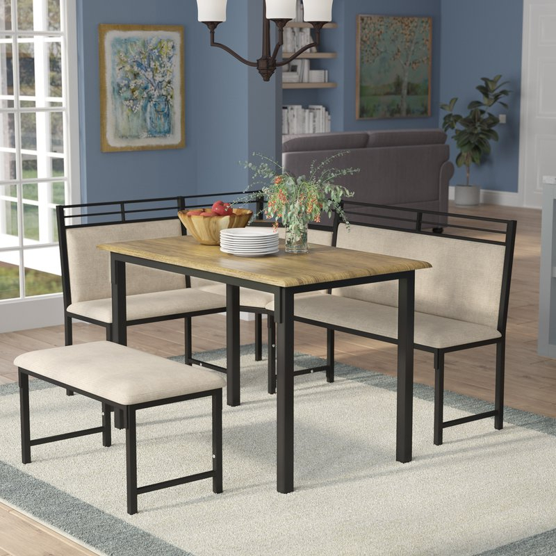 Famous Red Barrel Studio Moonachie Corner 3 Piece Dining Set & Reviews Inside Isolde 3 Piece Dining Sets (View 4 of 20)