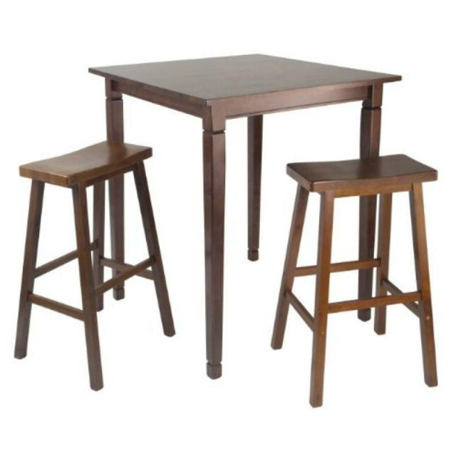 Famous Winsome 3 Piece Counter Height Dining Sets Within Winsome Kingsgate 3 Piece Counter Height Pub Table Set For Sale (View 17 of 20)