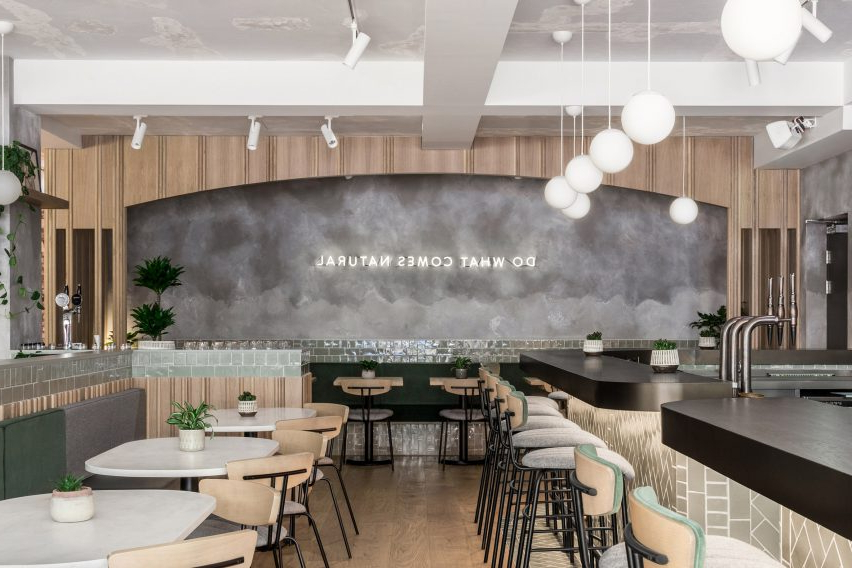 Farmer J Restaurant In London Boasts Grey Surfaces And Green Accents With 2020 Falmer 3 Piece Solid Wood Dining Sets (View 18 of 20)