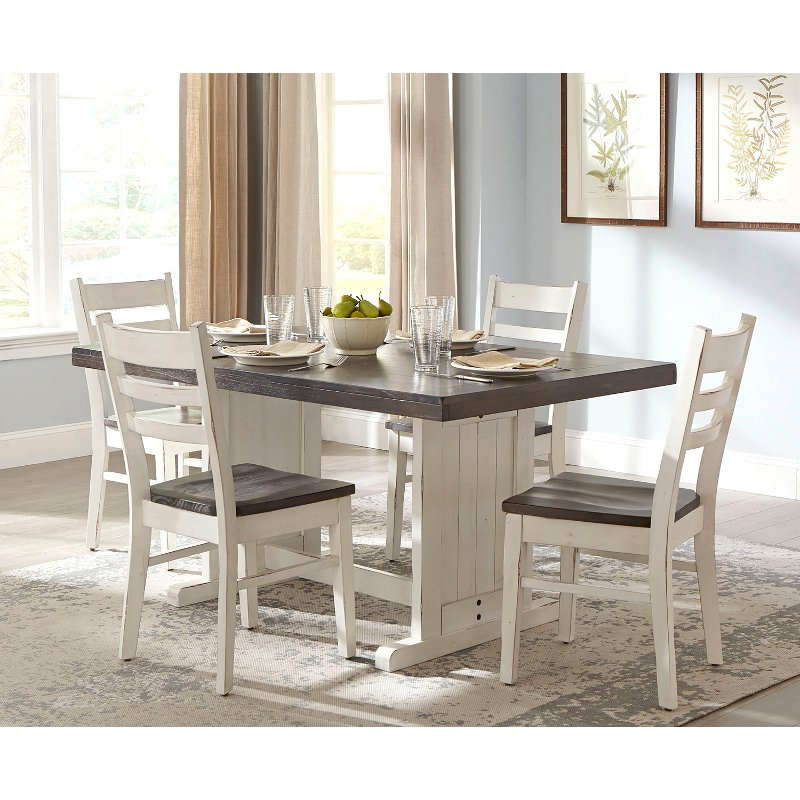 Fashionable 5 Piece Dining Sets Throughout French Country White Two Tone 5 Piece Dining Set – Bourbon County (View 11 of 20)