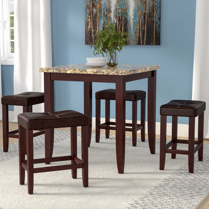 Fashionable Askern 3 Piece Counter Height Dining Sets (set Of 3) With Latitude Run Dejean 5 Piece Counter Height Dining Set & Reviews (View 7 of 20)
