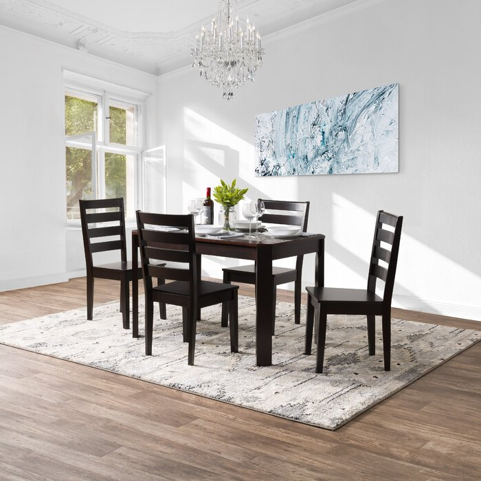 Fashionable Breakwater Bay Goodman 5 Piece Solid Wood Dining Set (View 2 of 20)